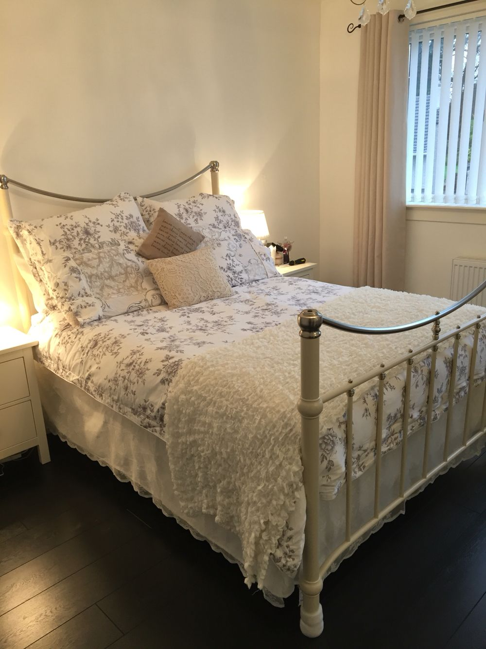 Beautiful metal bed frame with homemade lace valance bed skirt ...