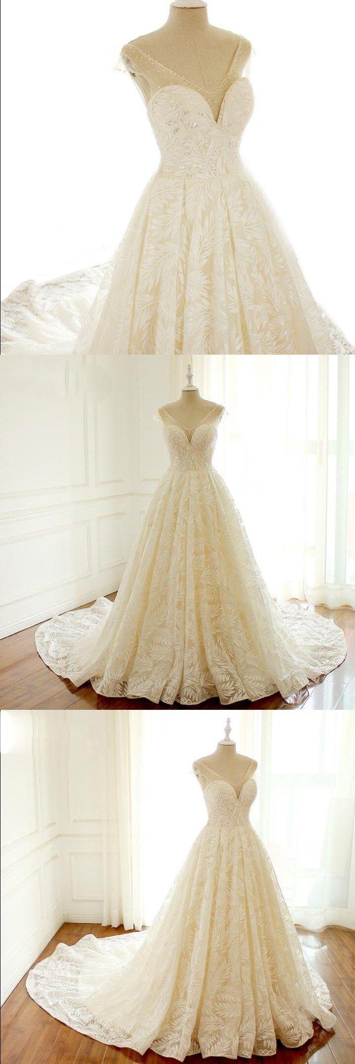 V neck unique new design wedding dresses lovely romantic long