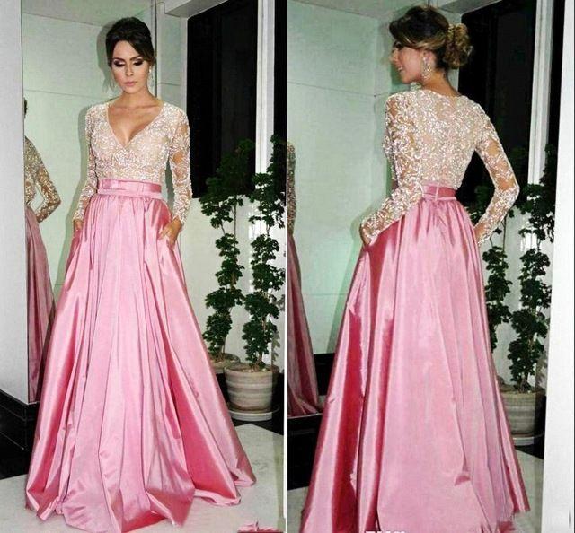2015-largo-atractivo-color-rosa-De-noche-vestidos-manga-larga-De ...