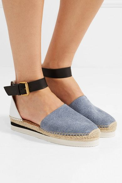 b27da203162 See By Chloé - Leather and denim platform espadrilles   Products ...