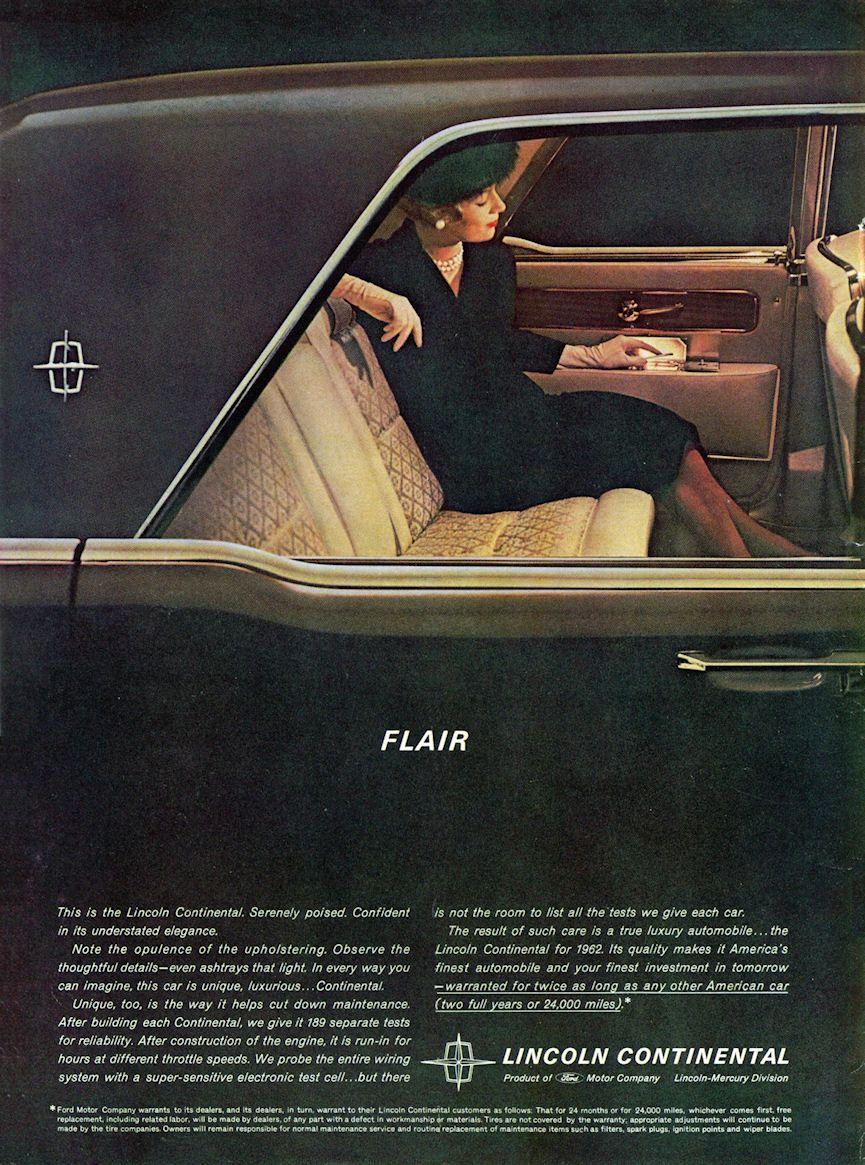 advertisement for 1962 lincoln continental sedan flair the year in review 1962 pinterest. Black Bedroom Furniture Sets. Home Design Ideas