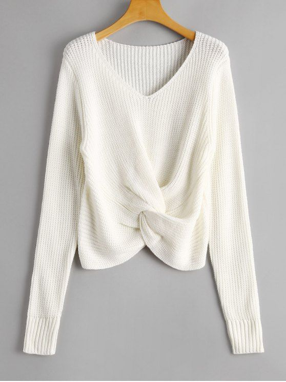 Up to 70% OFF! V Neck Twist Chunky Sweater. Zaful a401152a6