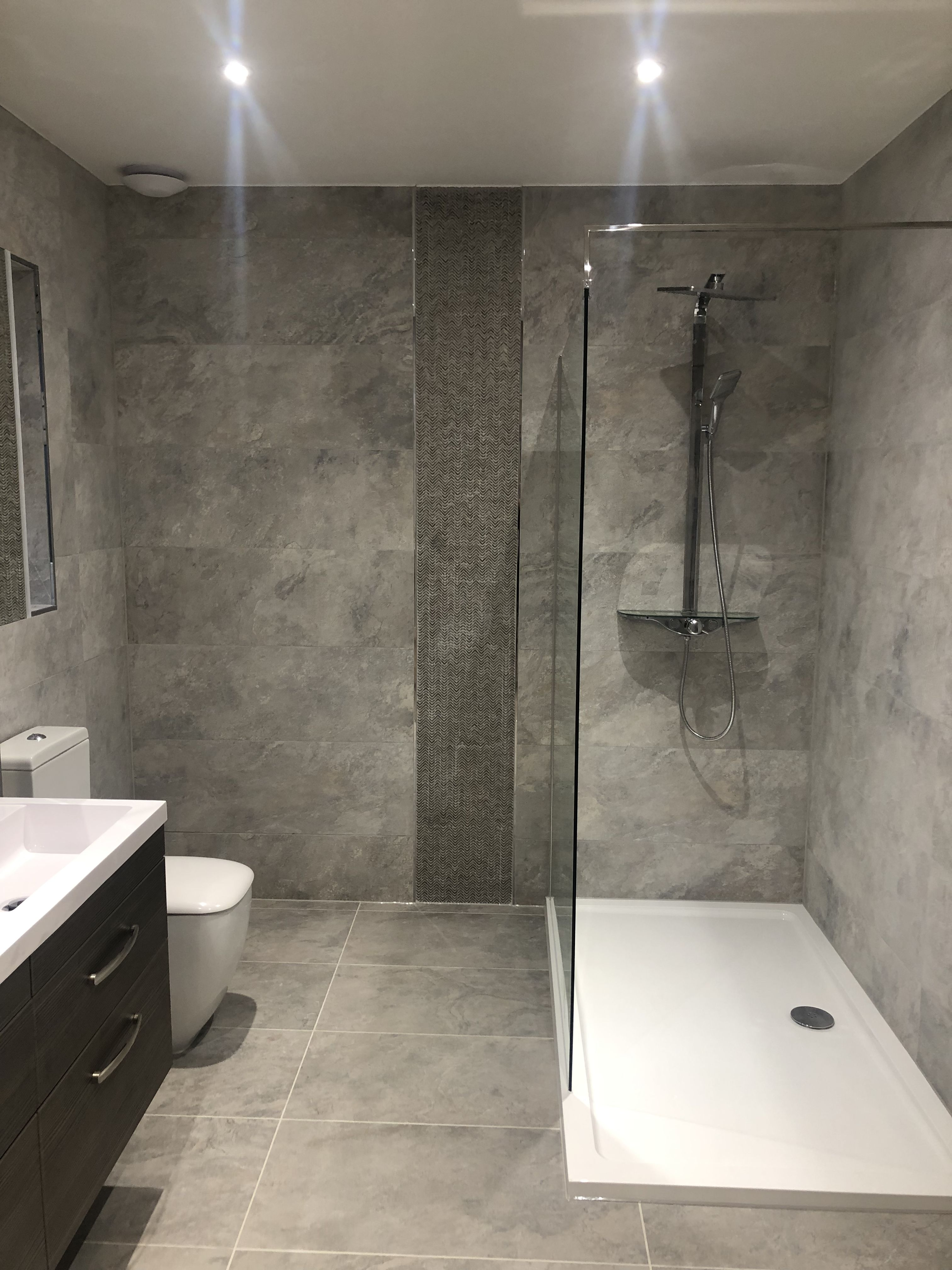 Porcelanosa Mirage Silver Wall & Floor tiles in 3  Fitted