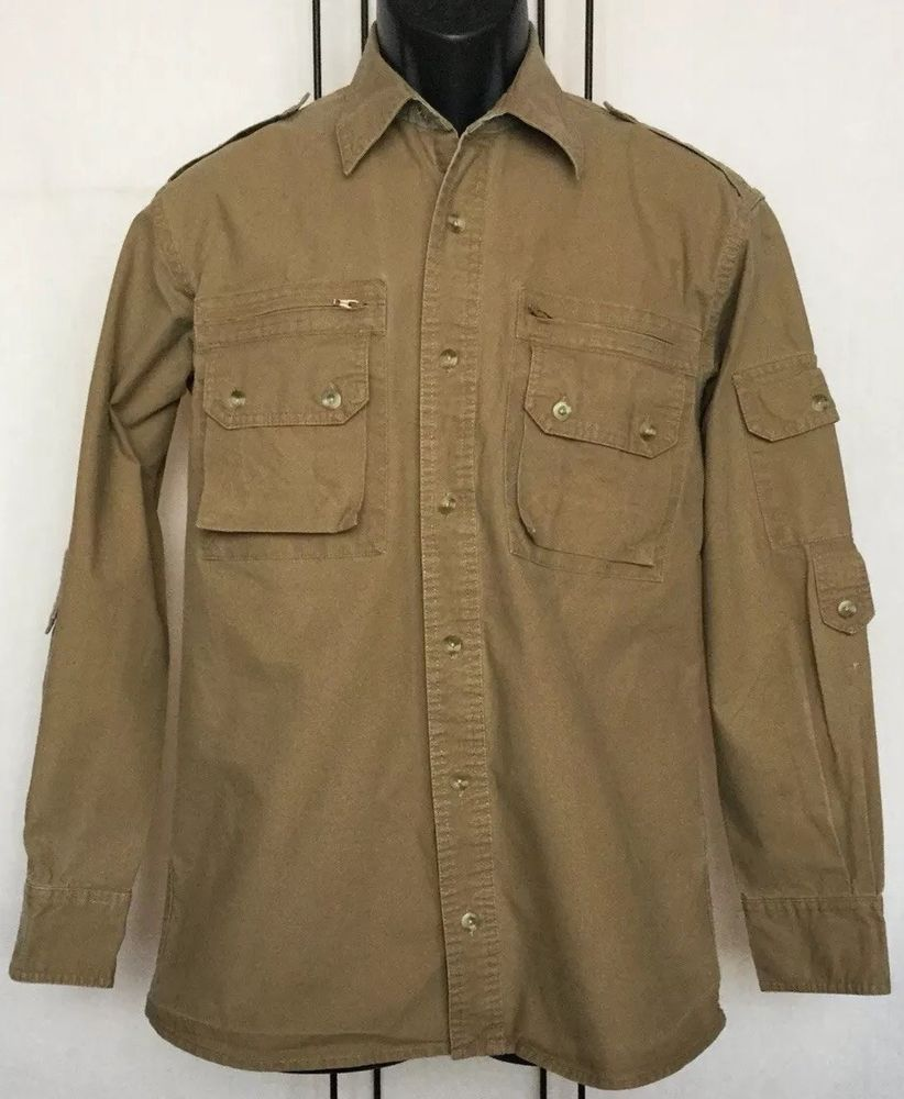 Mens Cabelas Size Small Safari Series Beige 100 Cotton L S Active Work Shirt Fashion Clothing Shoes Accessories Mensclothin Work Shirts Shirts Shirt Tail