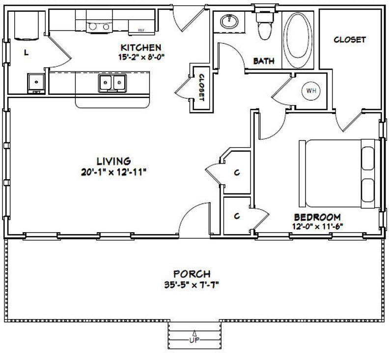 36x22 House 1 Bedroom 1 Bath 790 Sq Ft Pdf Floor Plan Instant Download Model 1 In 2020 Tiny House Floor Plans Small House Plans Small House Floor Plans