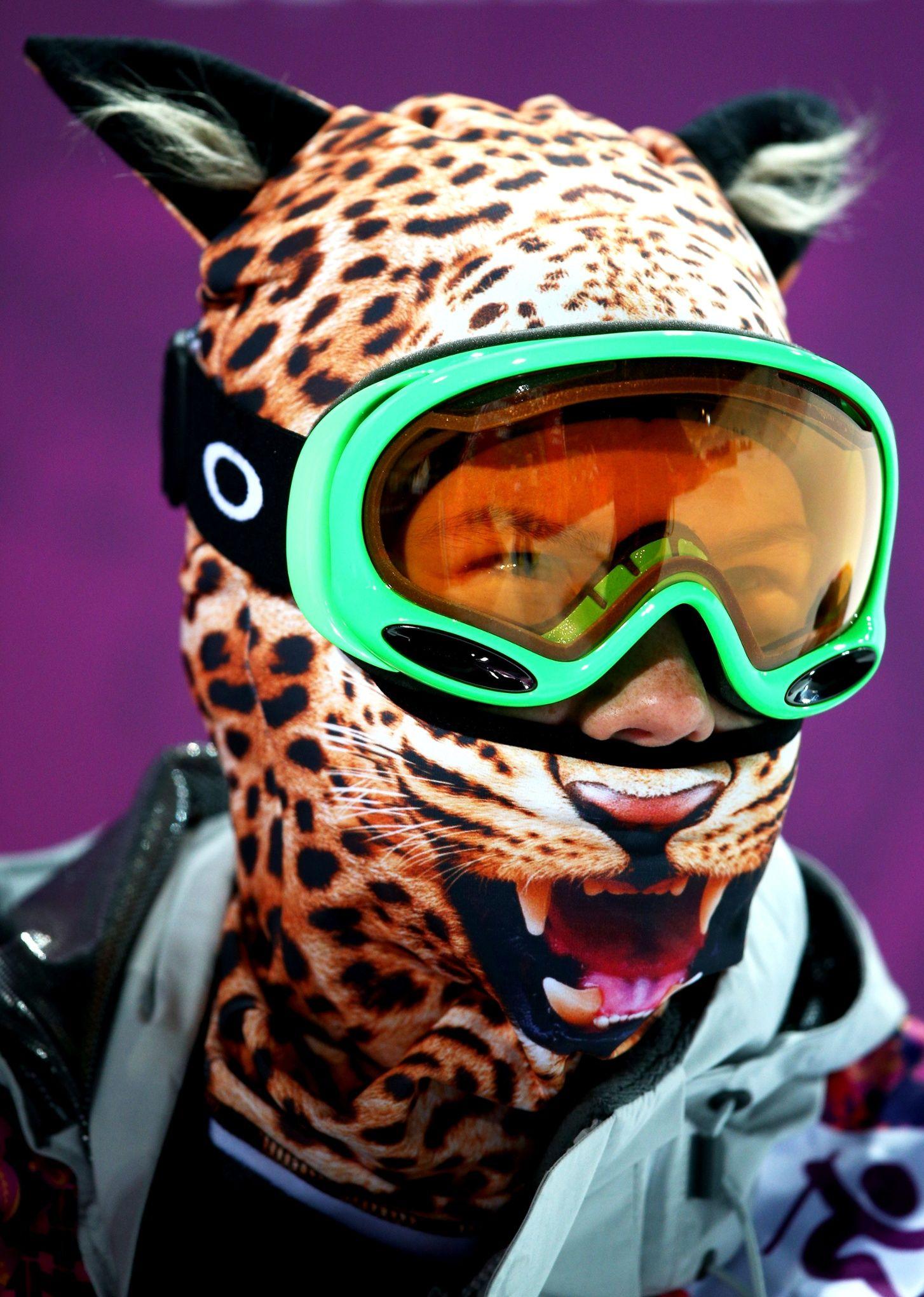 Elizavetta Chesnokova of Russia wears a mask in the freestyle ladies' ski halfpipe qualification.
