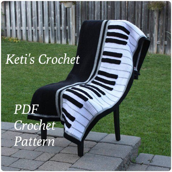 Pinned on Pinterest: Crochet Pattern for Piano Blanket,Piano Blanket Crochet Pattern,Piano Crochet Pattern,Piano Blanket,Piano Afghan Crochet Pattern,Piano Throw thumbnail