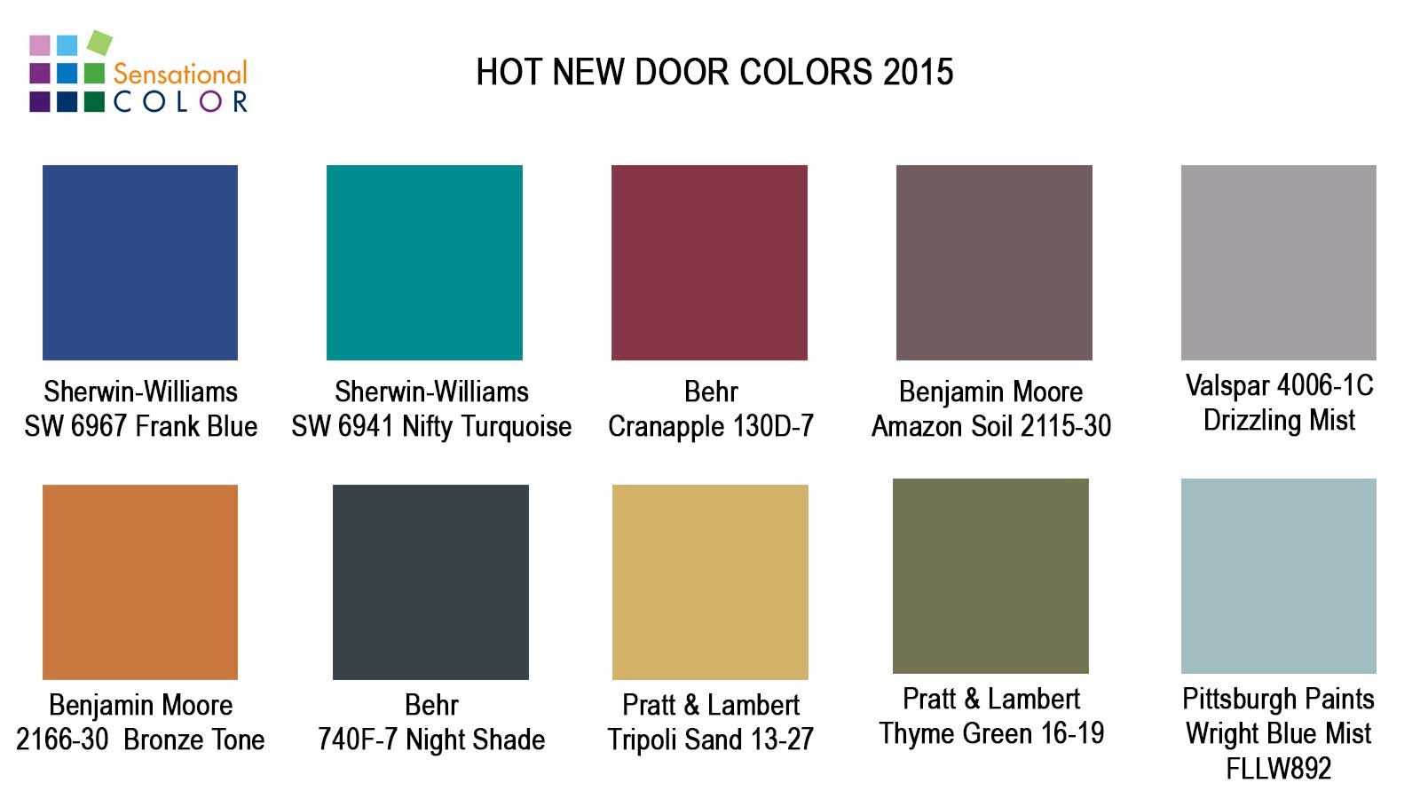 Top 10 Hot New Door Colors for 2015. Five of the colors are bold and Exterior Paint Colors on decorating colors 2015, kitchen colors 2015, granite colors 2015, carpet colors 2015, bedrooms colors 2015, interior colors 2015, garage door colors 2015, exterior home 2015, front door colors 2015, wood colors 2015, bathroom colors 2015,