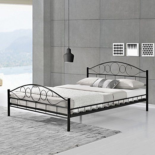 Metallbett Toskana 140 X 200 Cm Schwarz Modernes Zeitloses Design Pulverbeschichteter Stahlrahmen Inklusive Bettgestell Bett 140x200 Bett