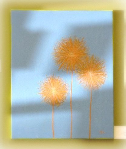 ORIGINAL painting art dandelion flower yellow decor by zincfineart, $85.00 - there's something I like about the way the dandelions are painted