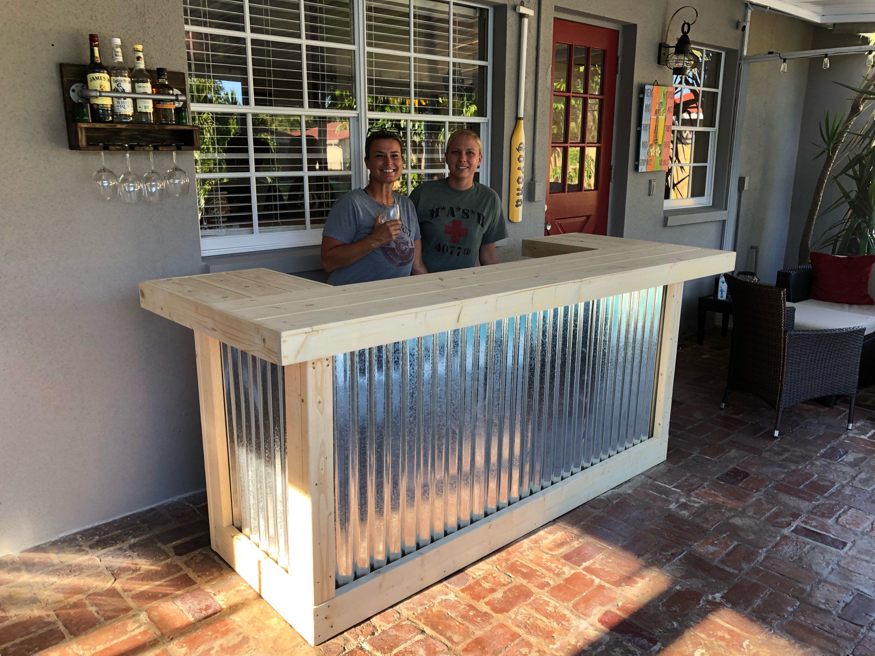 The Indoor Thomas – 3 x 8 X 3 2 level corrugated metal and wood unfinished bar