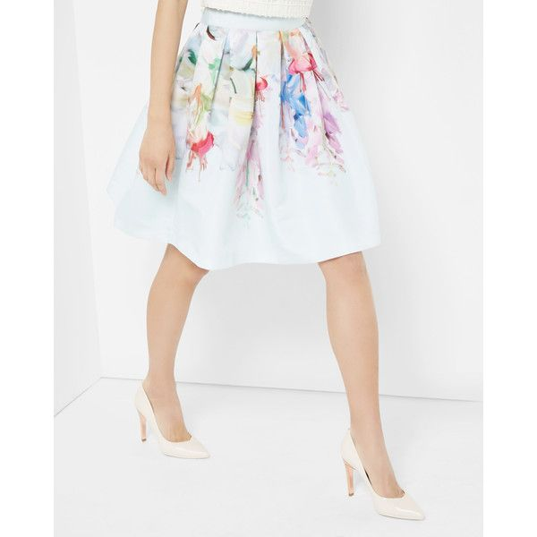Ted Baker Hanging Garden Full Skirt ($259) ❤ liked on Polyvore featuring skirts, mint, mint green skirt, pleated skirt, floral print skirt, metallic skirt et ted baker