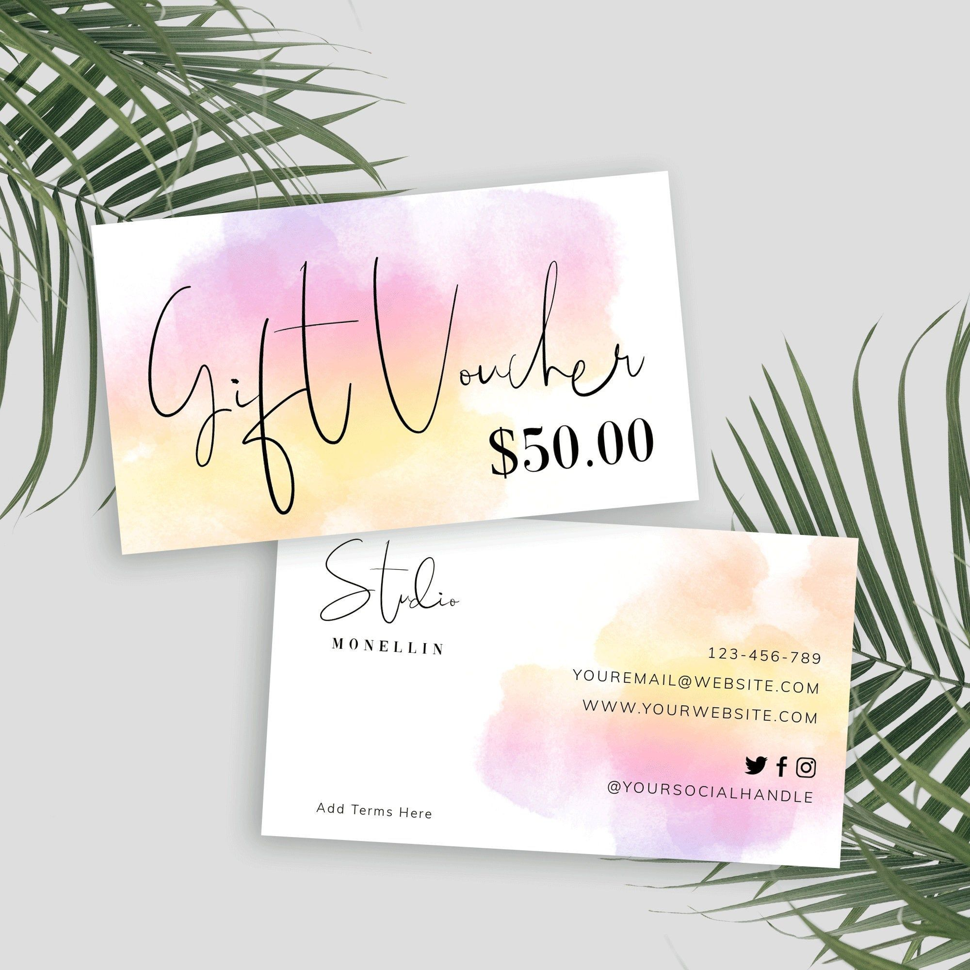 Mini Gift Voucher Template Printable Gift Card Design Etsy In 2020 Printable Gift Cards Gift Card Design Gift Card Template