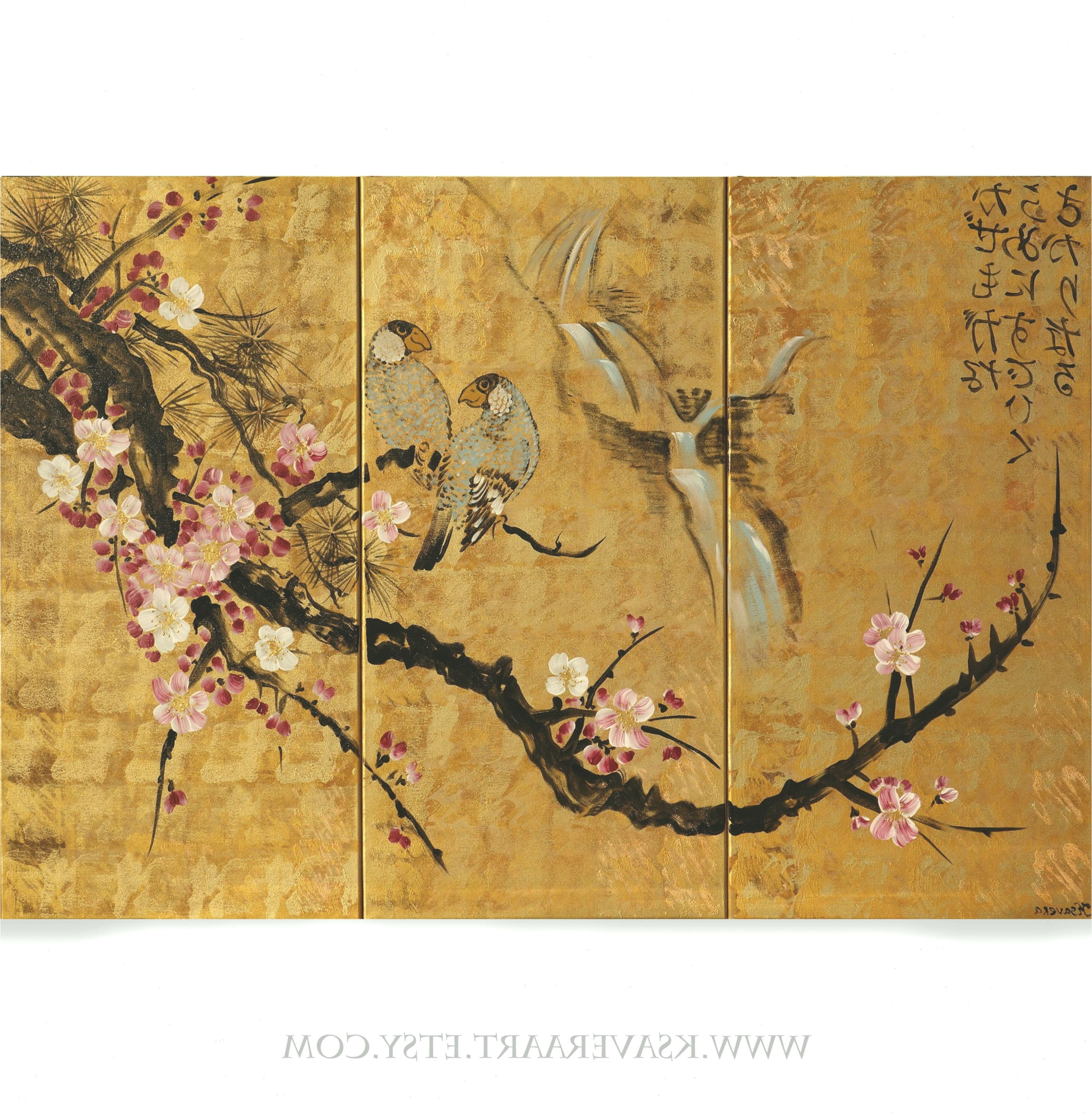Japan Art Cherry Blossom And Love Birds Japanese Painting Large Paintings Acrylic Gold Wall Art Pillowtexture Acr Japanese Painting Japan Art Large Painting