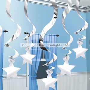 Solid Colour Decorations Silver Shooting Stars