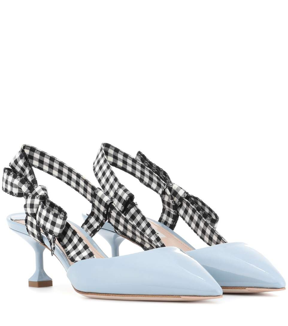 MIU MIU Patent leather slingback pumps. #miumiu #shoes #