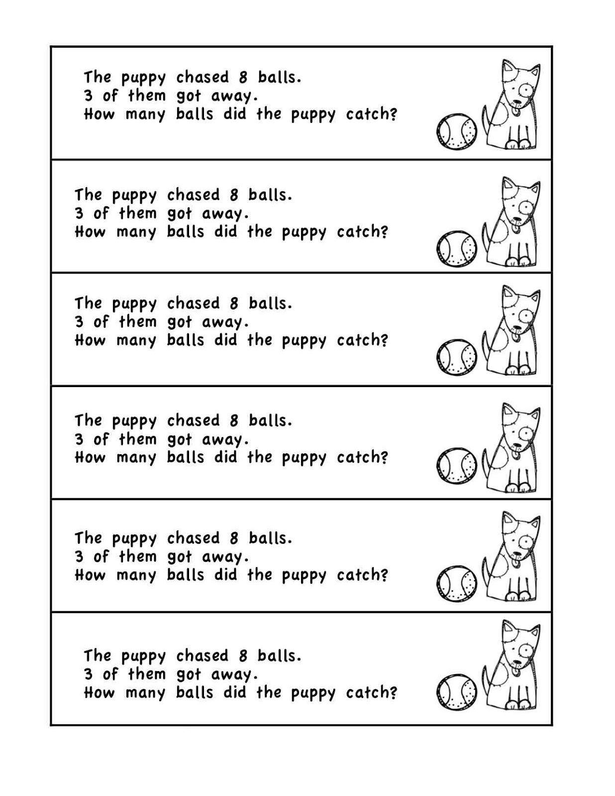 Math Word Problems Kindergarten Printing