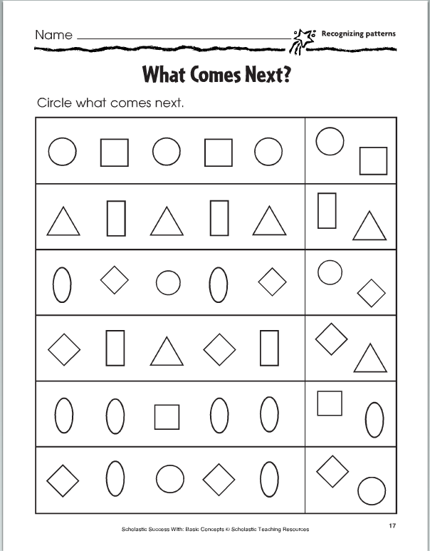 Lesson Four Copy And Extend Patterns Pattern Worksheet Math