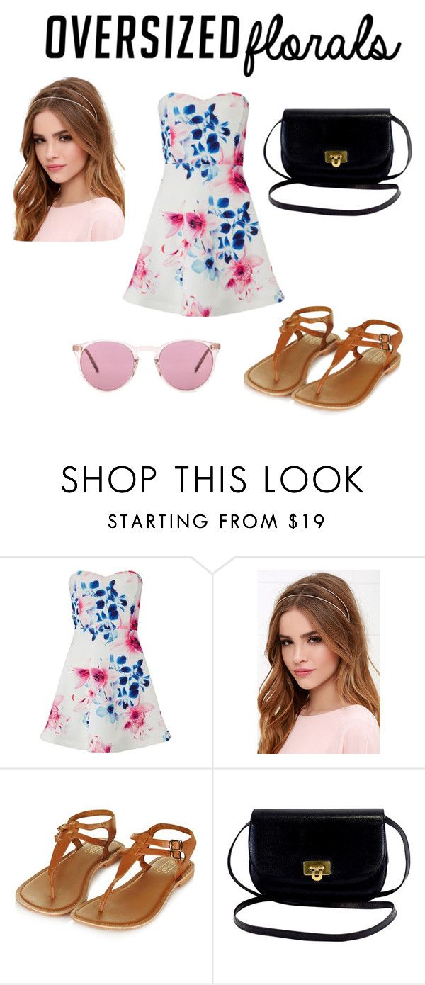 """Cute spring outfit"" by alannabain ❤ liked on Polyvore featuring Lipsy, Lulu*s and Oliver Peoples"