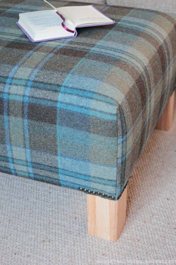 diy ottoman - love the nailhead trim just around the feet - do not love the plaid