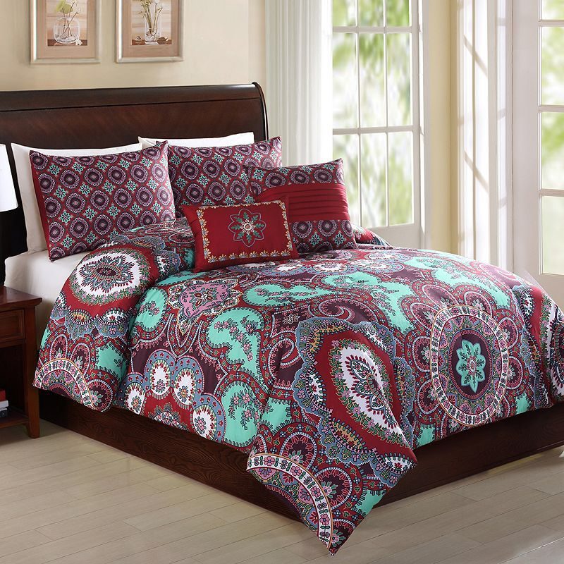 Medallion Comforter Set With A Stunning Burgundy And Aqua