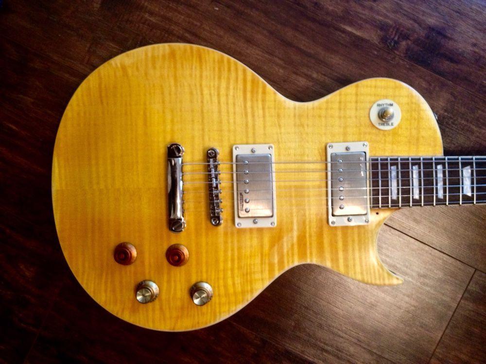 New Vintage V100mrpgm Distressed Flamed Lemon Drop Lp Guitar Case Available Vintageguitars Lespaul Guitar Case Guitar Vintage V100