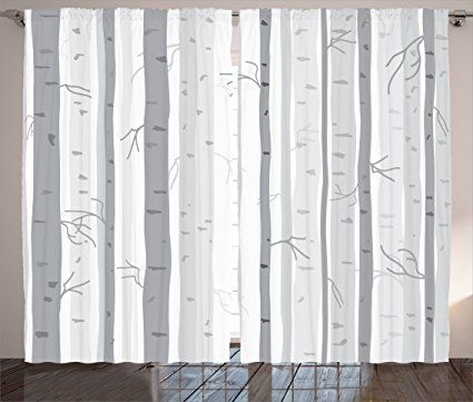Ambesonne Grey Decor Collection Birch Trees In Autumn Fall Branches Forest With Soft Light Colors Modern Graphic Prin Grey Decor Living Room Bedroom Ambesonne