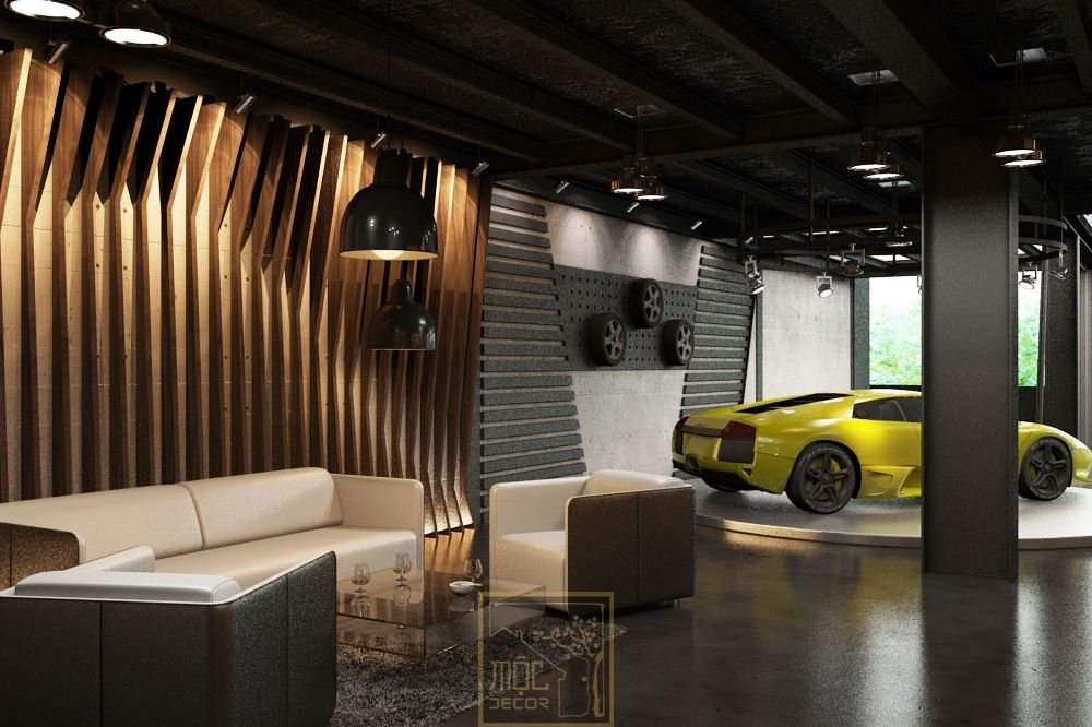 Office showroom of jaguar luxury car office showroom for Luxury garage interiors