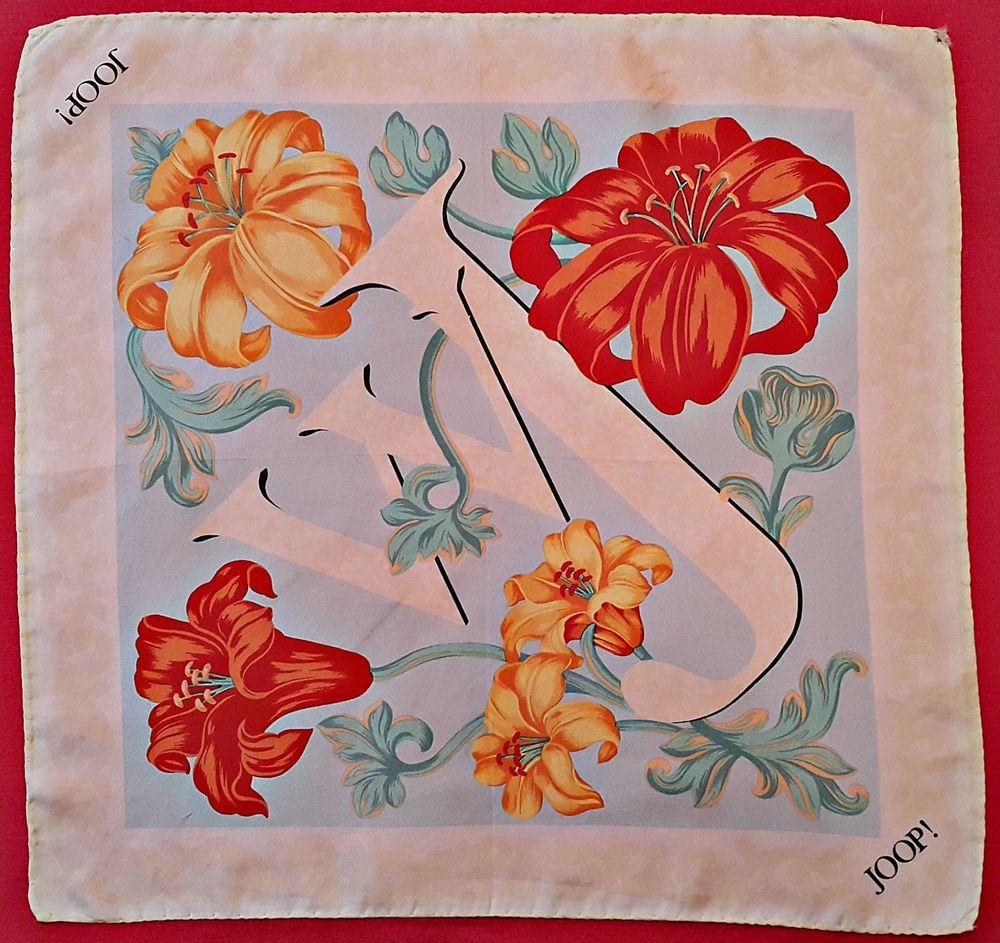 Vintage Authentic Joop Perfume Logo White Blue Red Silk - Silk Scarf Joop