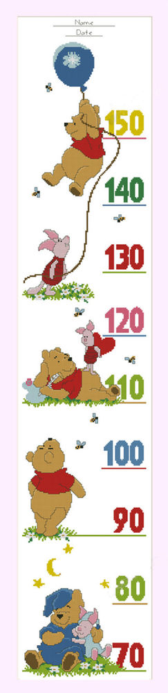 Counted Cross Stitch Kit Growth Height Chart For Baby Winnie The Pooh 2 Counted Cross Stitch Kits Counted Cross Stitch Cross Stitch Kit
