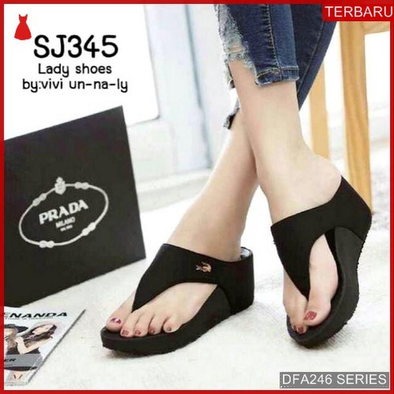Dfa246j38 Jh105 Sandal Wedges Wanita 5555 Dewasa Bmgshop Kanvas