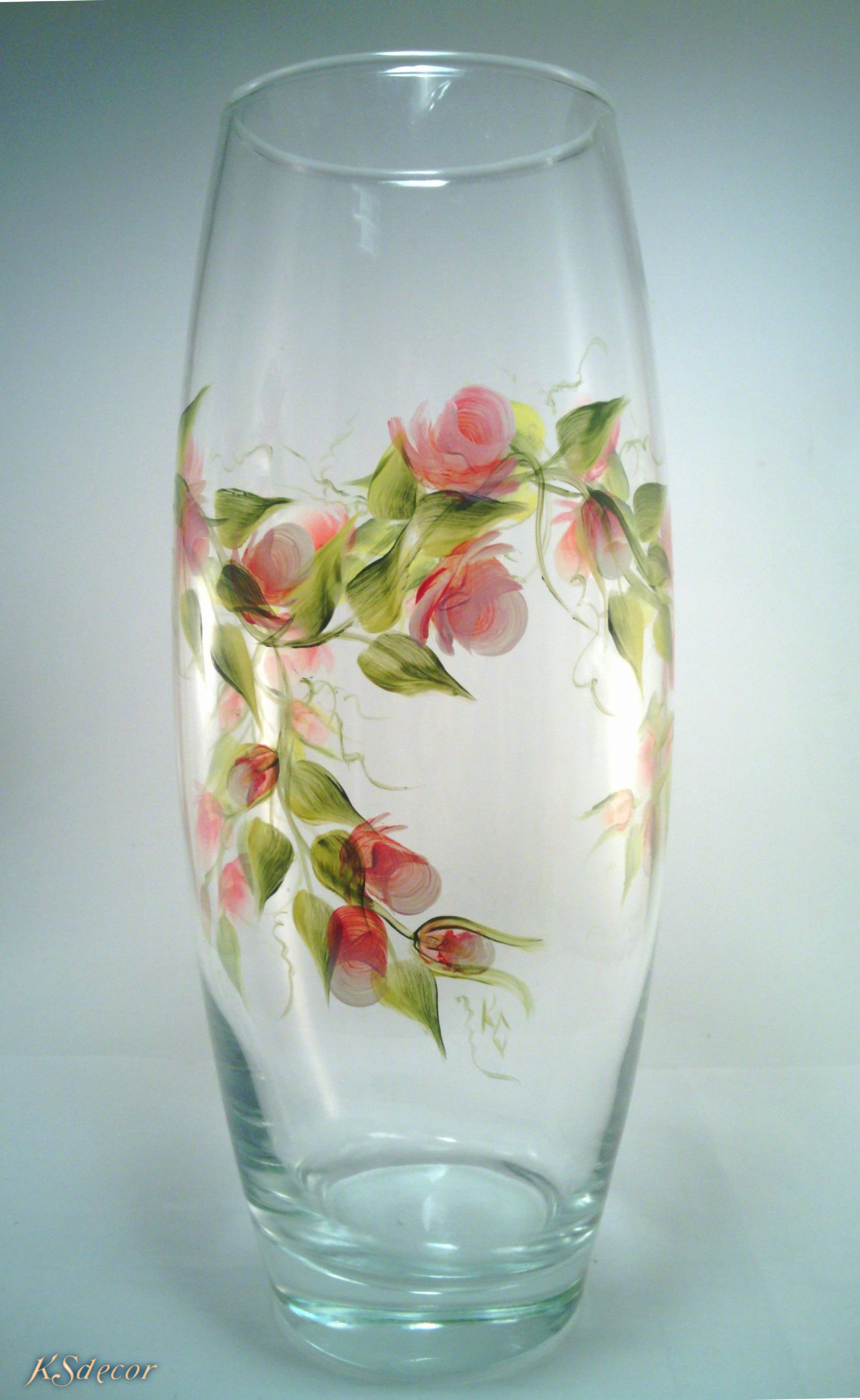 Pained Glassware Painted Glass Vases Glass Art Projects Glass