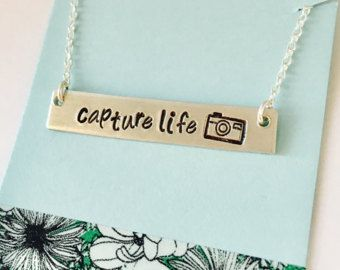Camera Necklace Jewelry Photographer Gift Capture Life Hand Stamped