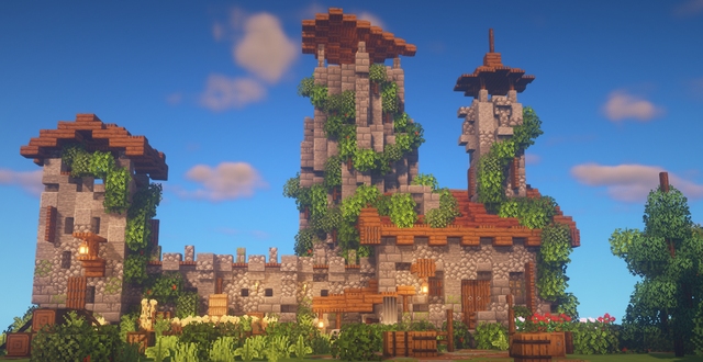 Just a ruined castle wall in a small blocky forest