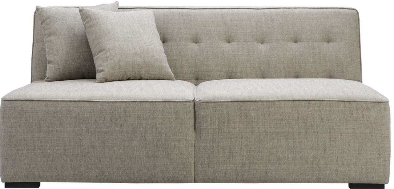 The Bradford no-arm 2-seat sofa in mole and anthracite is a contemporary modular or stand alone sofa that will suit any mood or taste. This 2 seat option can be added to with other individually ordered pieces that can join together to become a stand out modular unit in your home. The beautiful weave of the fabric introduces an element of interest in a neutral colour scheme. Price $1,299.