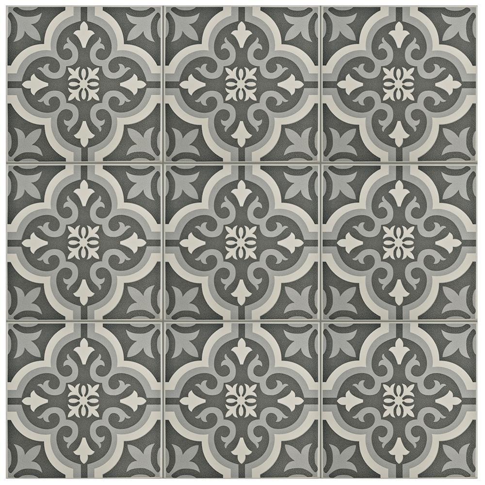 Merola tile braga black 7 34 in x 7 34 in ceramic floor and wall merola tile braga black 7 34 in x 7 34 in ceramic floor and wall tile 1076 sq ft case blackgrey and whitelow sheen dailygadgetfo Choice Image