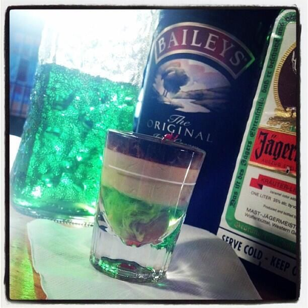 This Is The Loch Ness Monster Shot A Great Layered Shot Check It Out Lochness Monster Shot Recipe Unique Alcoholic Drinks Bartender Drinks Shot Drinks