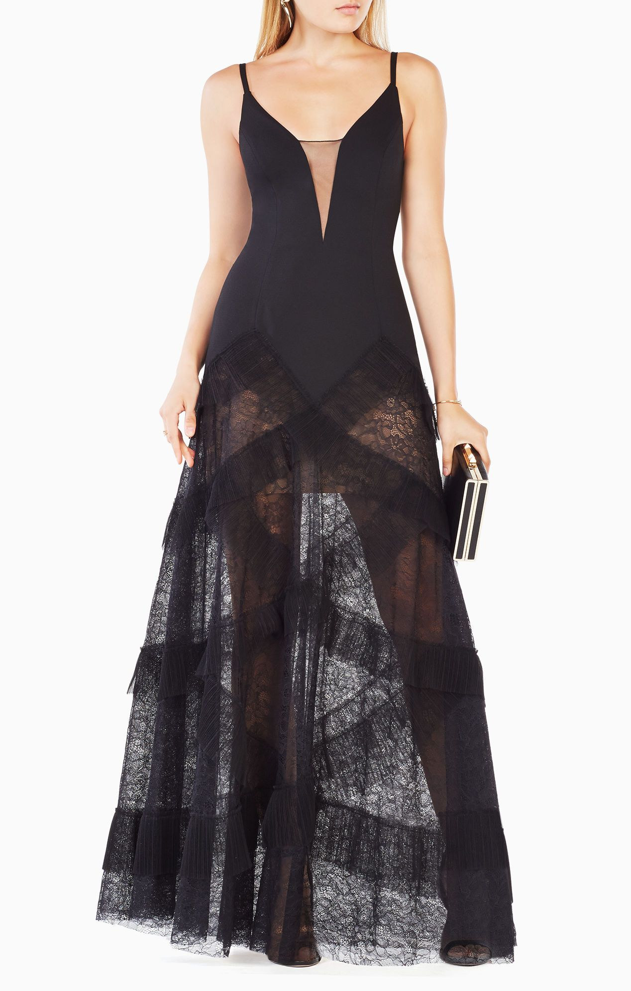 39c8c4532b48 Avaline Pleated Gown Gorgeous detail and love the sheer lace bottom ...