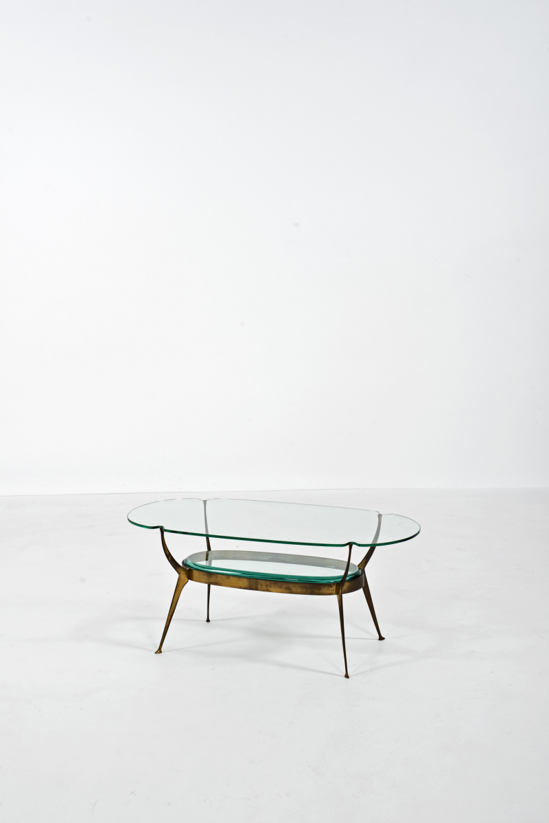 Cesare Lacca; Glass and Gilt Bronze Coffee Table, 1950s.
