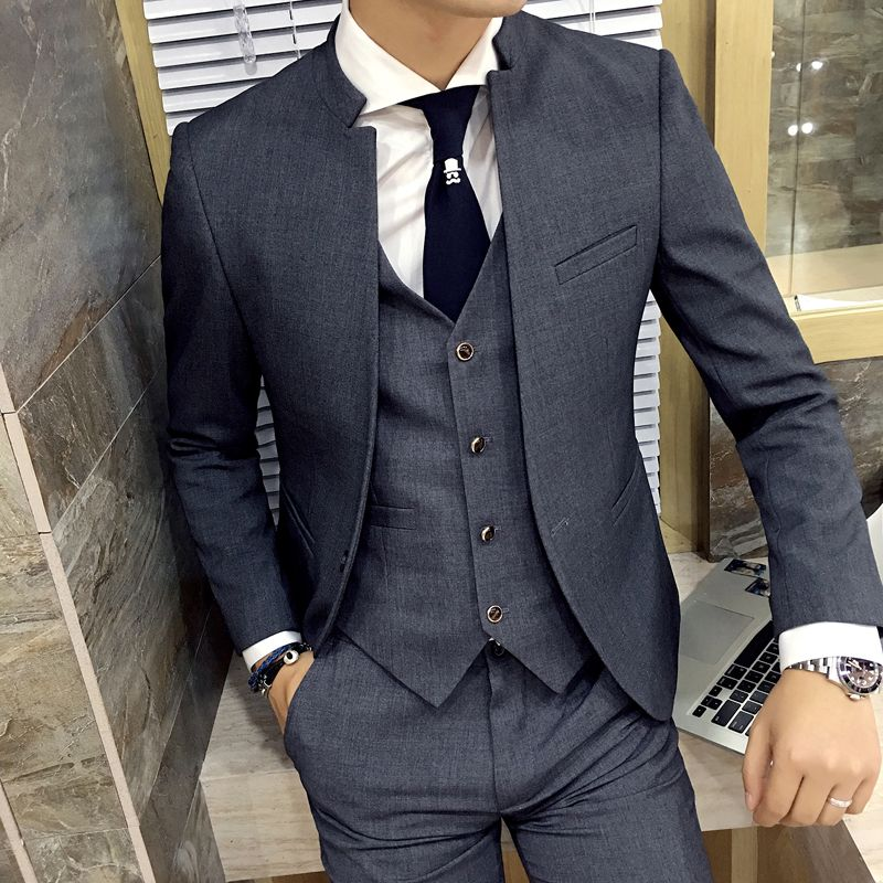 Latest Coat Pant Designs Stand Collar 3 Pieces Grey Mens Formal Suits Black Men Wedding