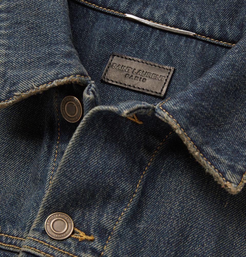 Saint Laurent - Distressed Washed-Denim Jacket|MR PORTER
