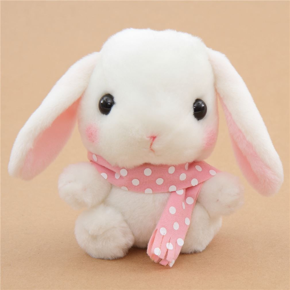 light cream bunny rabbit with dark blue scarf Poteusa Loppy plush toy from Japan #bunnyplush
