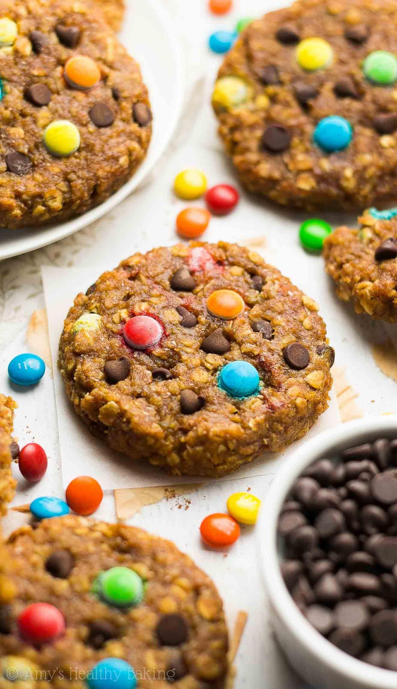 Healthy Pumpkin Monster Cookies Peanut Butter Oatmeal