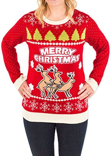 e60d071fcbe6 Womens Christmas Reindeer Threesome Ugly Sweater in Red By Festified ...