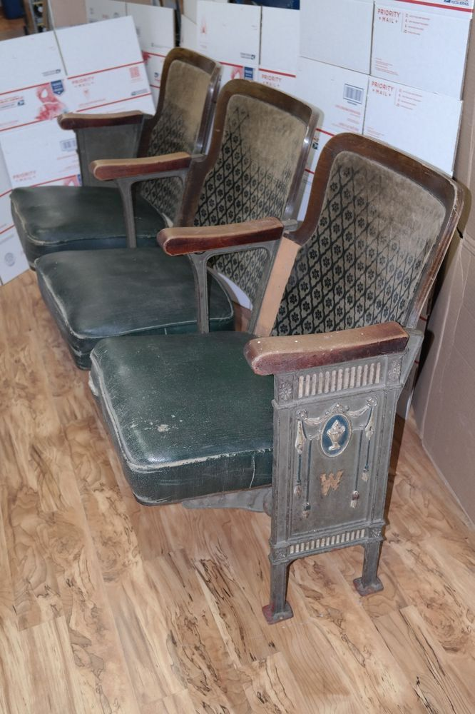 1920s Cinema Theater Seats - 3 Row Vintage Folding Chairs Two Antique Green  Ends - 1920s Cinema Theater Seats - 3 Row Vintage Folding Chairs Two
