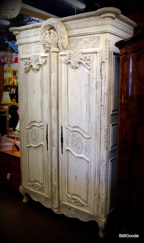 Very Unique Habersham Style Wedding Armoire / Linen Press Painted A Creamy Distressed  White. Armoire Has Double Doors, 2 Interior Shelves, Bird Nest Finial.