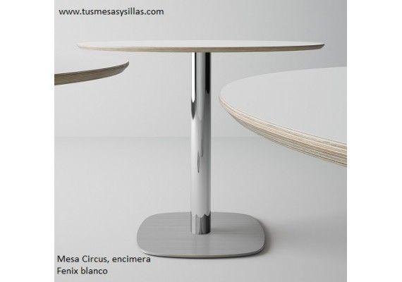 oferta para hosteleria cocina o comedor mesa redonda con pie central en cristal blanco