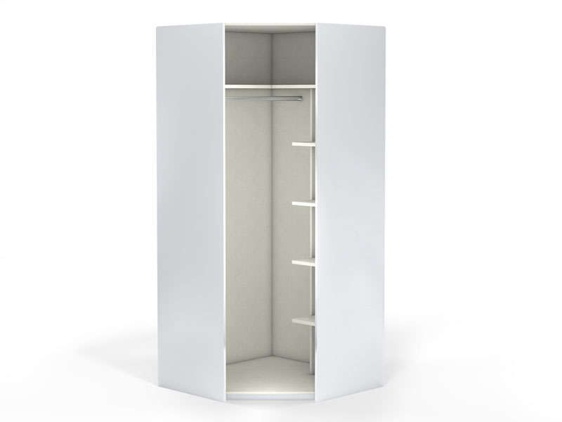 Angle 1 porte 100 cm no limit coloris blanc vente de for Armoire penderie blanc conforama