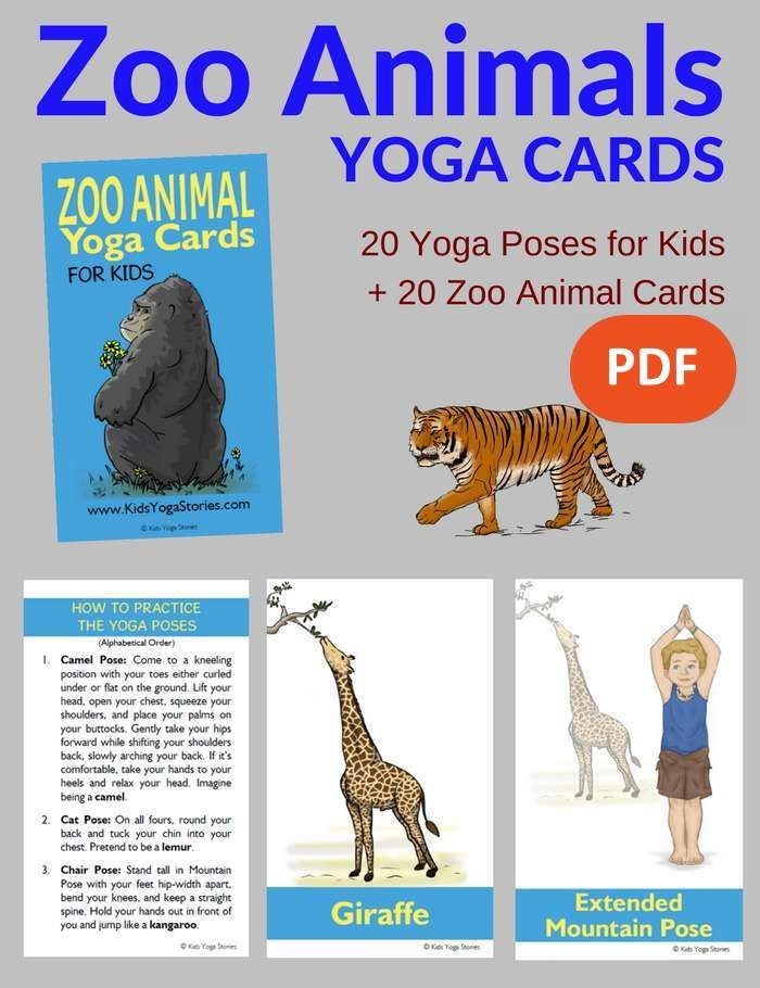 Learn About Zoo Animals Through Simple Yoga Poses In These Cards For Kids