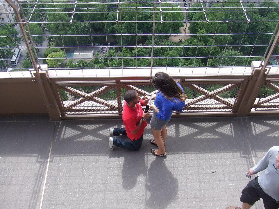 I saw this guy propose whilst I was on holiday in Paris last summer. She said yes! The whole Eiffel Tower erupted with applause!
